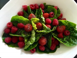 Hjertesalat med hindbær