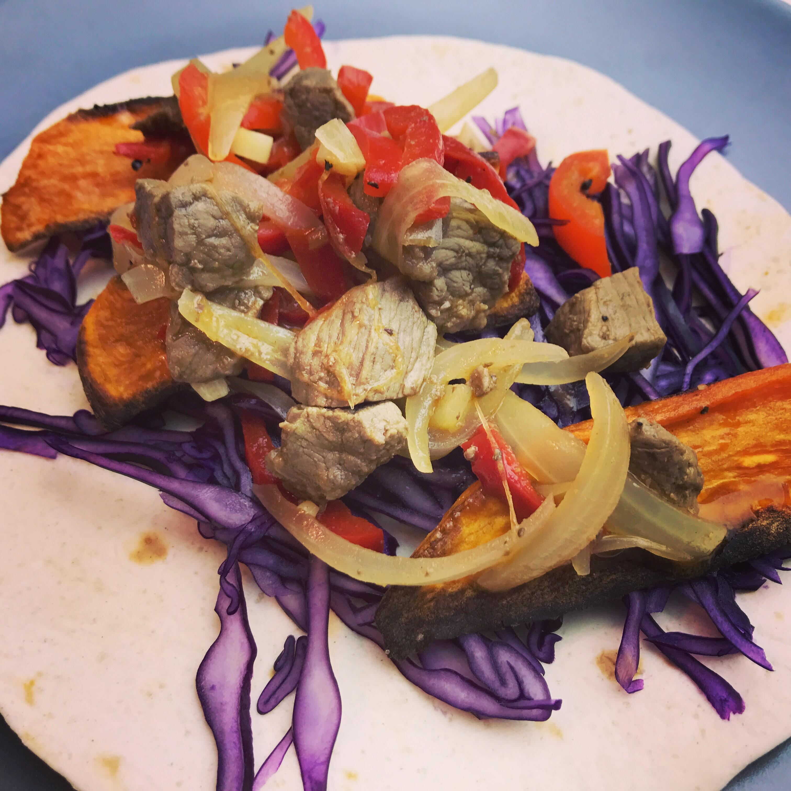Wrap med sødekartofler og spicy oksetern